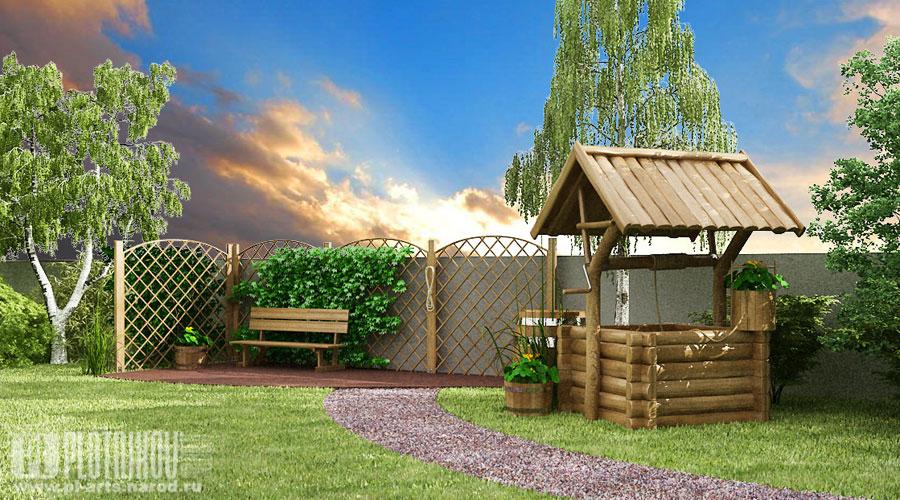 Дизайн дворов частных домов в деревне фото